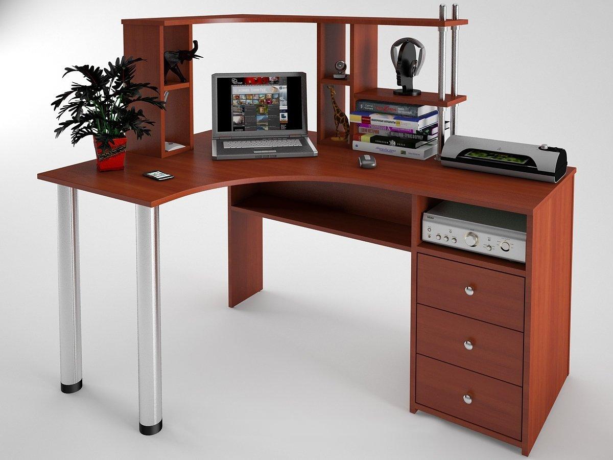Купить угловой компьютерный стол с-819 с надстройкой н-821 в.